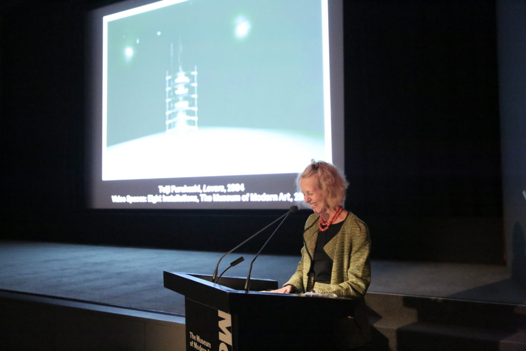 Barbara London speaking at the book launch at MoMA , Photo ©2020 Paula Court, 012020