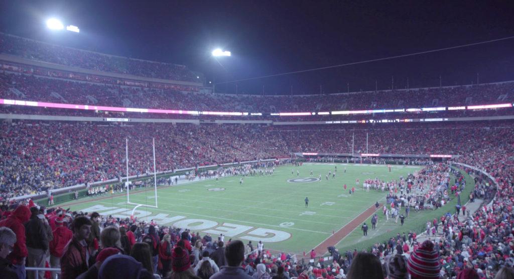 Paul Pfeiffer: University of Georgia Redcoat Band Live (Sanford Stadium, University of Georgia, Athens). 2019.