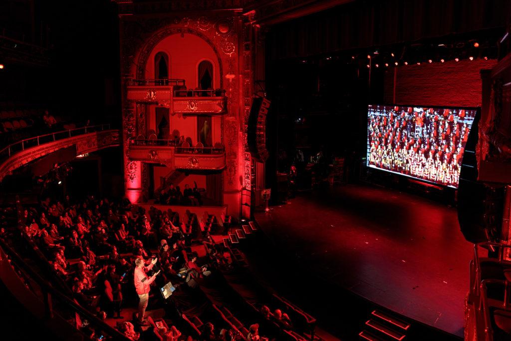 Paul Pfeiffer: University of Georgia Redcoat Band Live (Apollo Theater, New York). 2019.