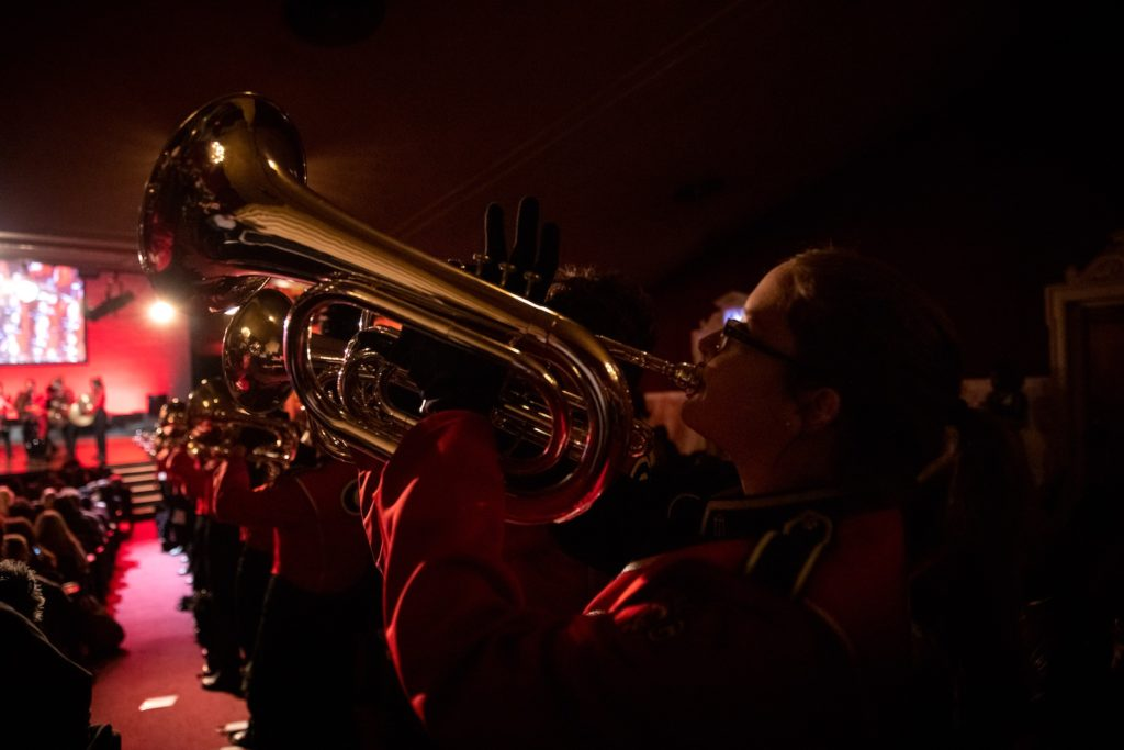 Paul Pfeiffer: University of Georgia Redcoat Band Live (Apollo Theater, New York). 2019.