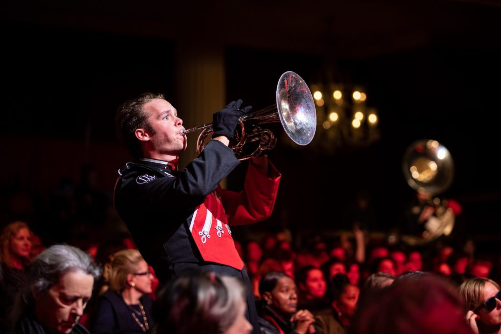 Paul Pfeiffer: University of Georgia Redcoat Band Live (Apollo Theater, New York). 2019. Performance and simultaneous live stream broadcast Performa Commission Co-Commissioned with VIA Art Fund for the Performa 19 Biennial Photo © Walter Wlodarczyk. Courtesy the artist and Paula Cooper Gallery, New York