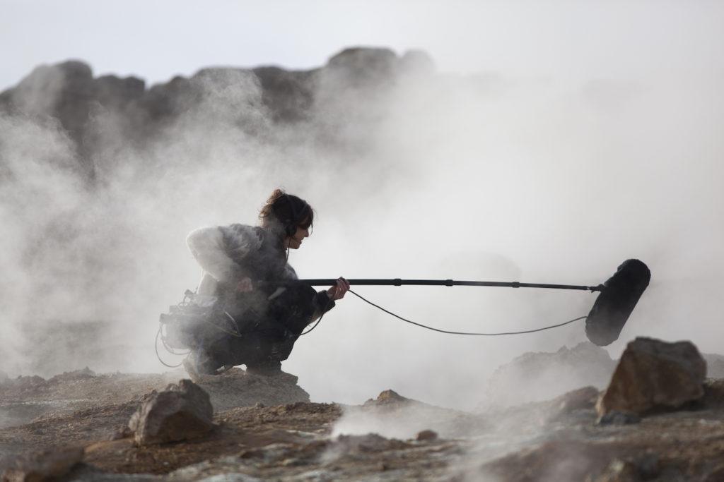 Jana Winderen recording in Iceland, 2014. Photo: Finnbogi Petursson.