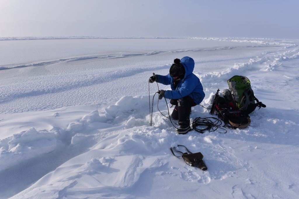 Jana Winderen hydrophone recording fifteen meters under the sea ice by the North Pole, 2015. Photo: Foundation Mamont.