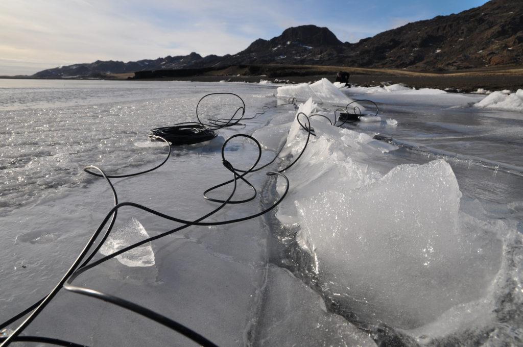 Jana Winderen hydrophone recording in Iceland, 2014. Photo: Jana Winderen.