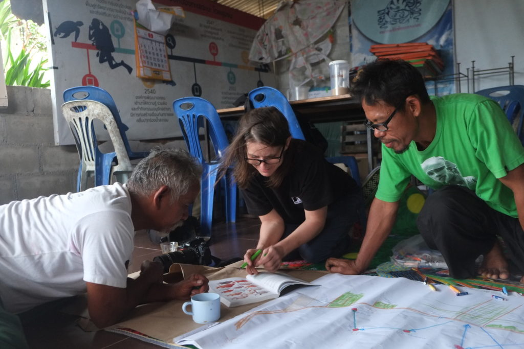 Bao Yamanyah, Jana Winderen, and Rungrueng Ramanyah mapping the recordings and identifying the different species of fish, Chana, Thailand, 2019. Photo: Palin Ansusinha.
