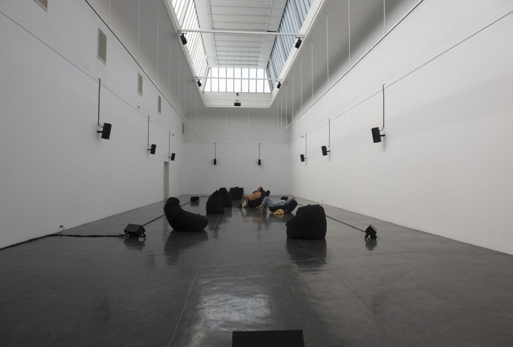 Rising Tide, 2019. Thirty-channel sound installation at Kunstnernes Hus, Oslo, 2019. Made in collaboration with Tony Myatt, Rungrueng Ramanyah, and Palin Ansusinha. Photo: Jana Winderen.
