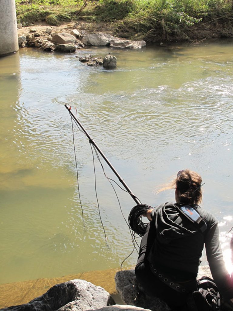 Jana Winderen hydrophone recording in the river Orne for a three-year project begun in 2014