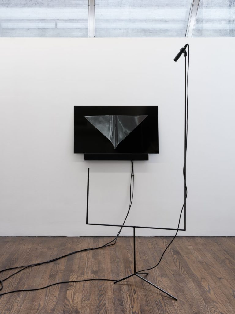 Music Stands, 2019, steel, UV prints on Dibond, foam, audio components, computer, sound. Installation view at The Artists Institute