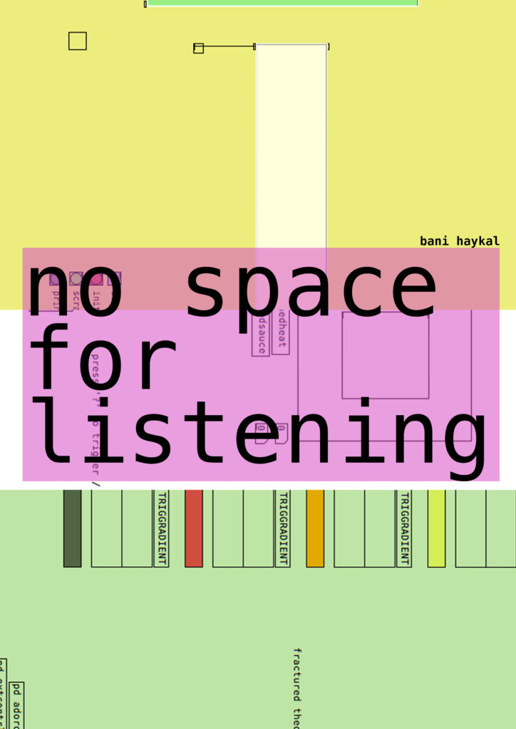 no space for listening//a sort of monograph on how else music could be made / experienced. a (sort of) monograph on the works & practice of bani haykal. 2012-2019. Edition of 50.